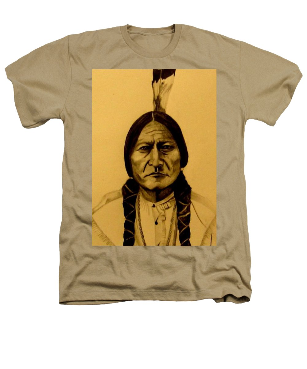 Portrait Heathers T-Shirt featuring the drawing Chief Sitting Bull Tatanka Iyotake by Michelle Dallocchio