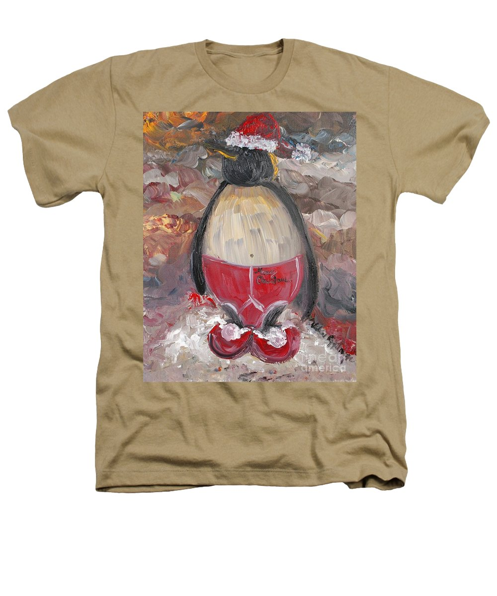 Penguin Heathers T-Shirt featuring the painting Christmas Penguin by Nadine Rippelmeyer