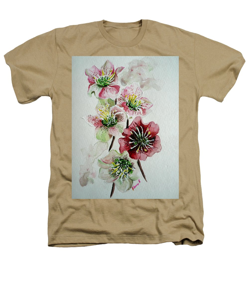 Floral Flower Pink Heathers T-Shirt featuring the painting Christmas Rose by Karin Dawn Kelshall- Best