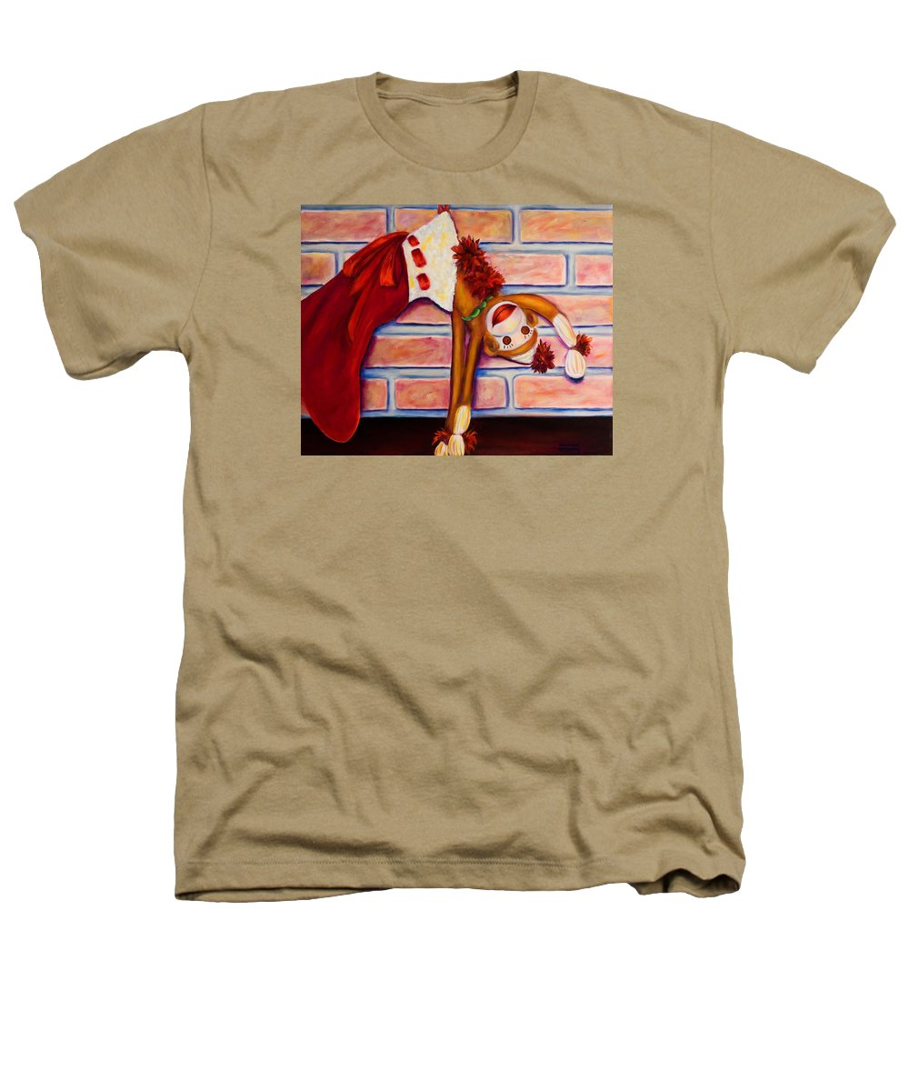 Sock Monkey Heathers T-Shirt featuring the painting Christmas With Care by Shannon Grissom