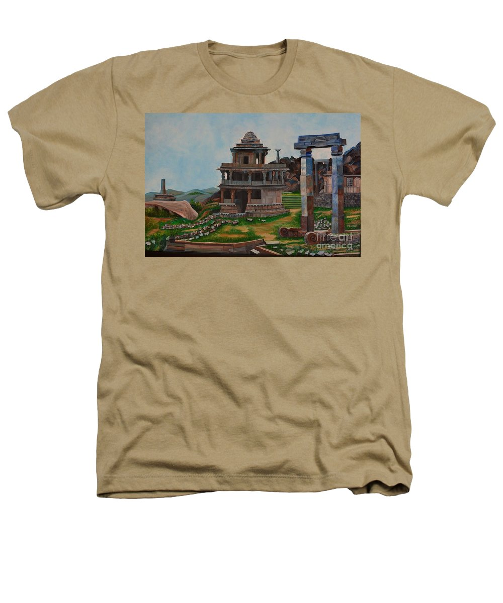 Landscape Heathers T-Shirt featuring the painting Cithradurga Fort by Usha Rai
