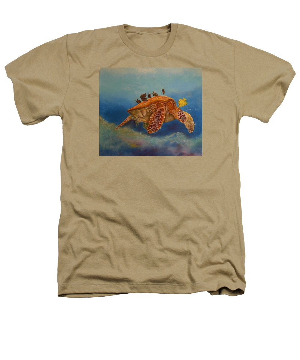 Turtle Heathers T-Shirt featuring the painting Cleaning Station by Ceci Watson