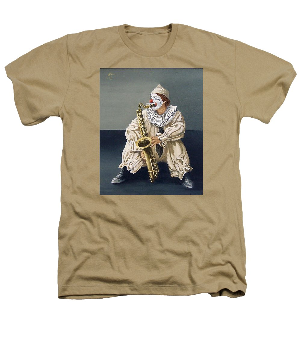 Clown Figurative Portrait People Heathers T-Shirt featuring the painting Clown by Natalia Tejera