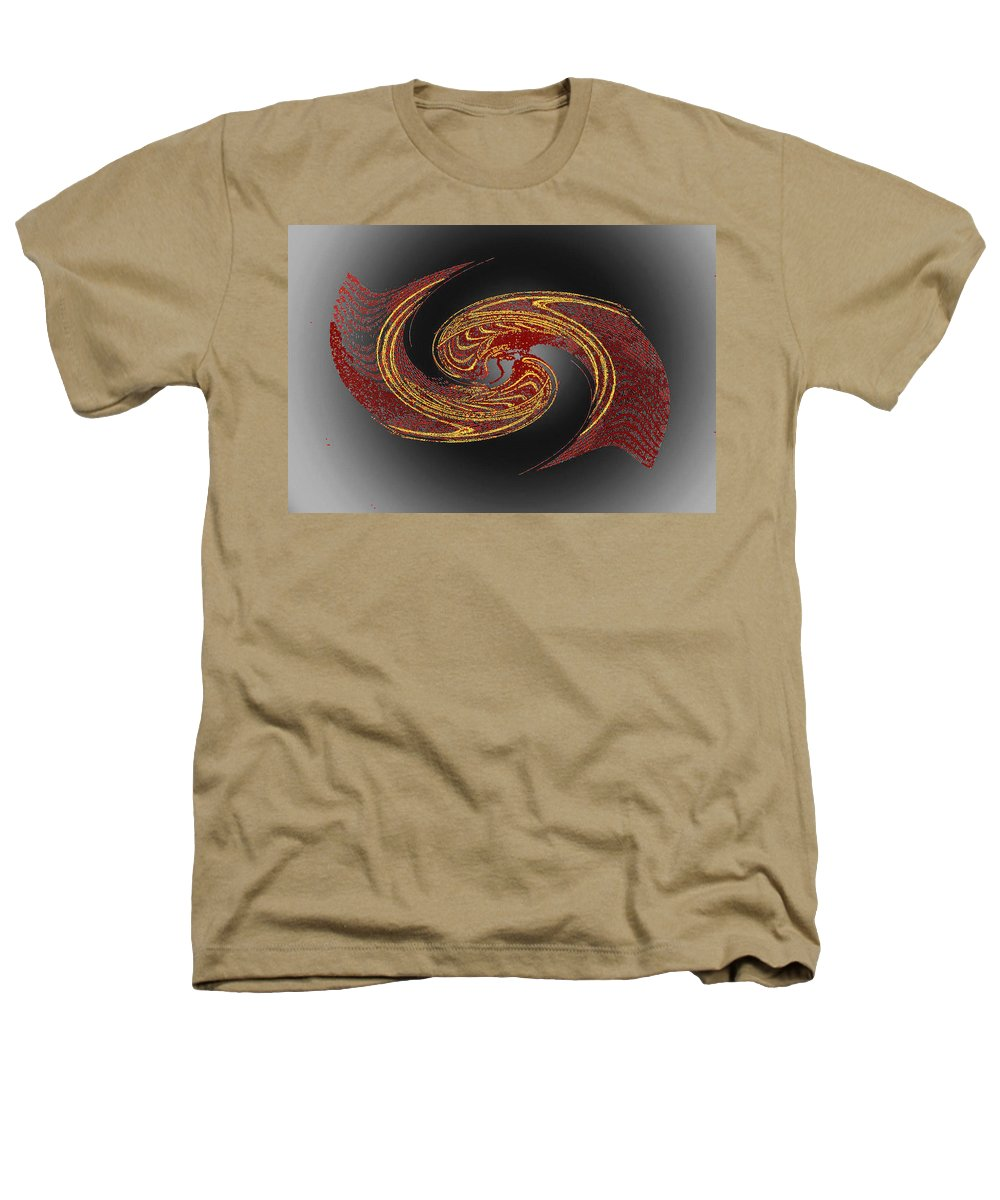 Red Heathers T-Shirt featuring the digital art Convergence In Red And Gold by Don Quackenbush