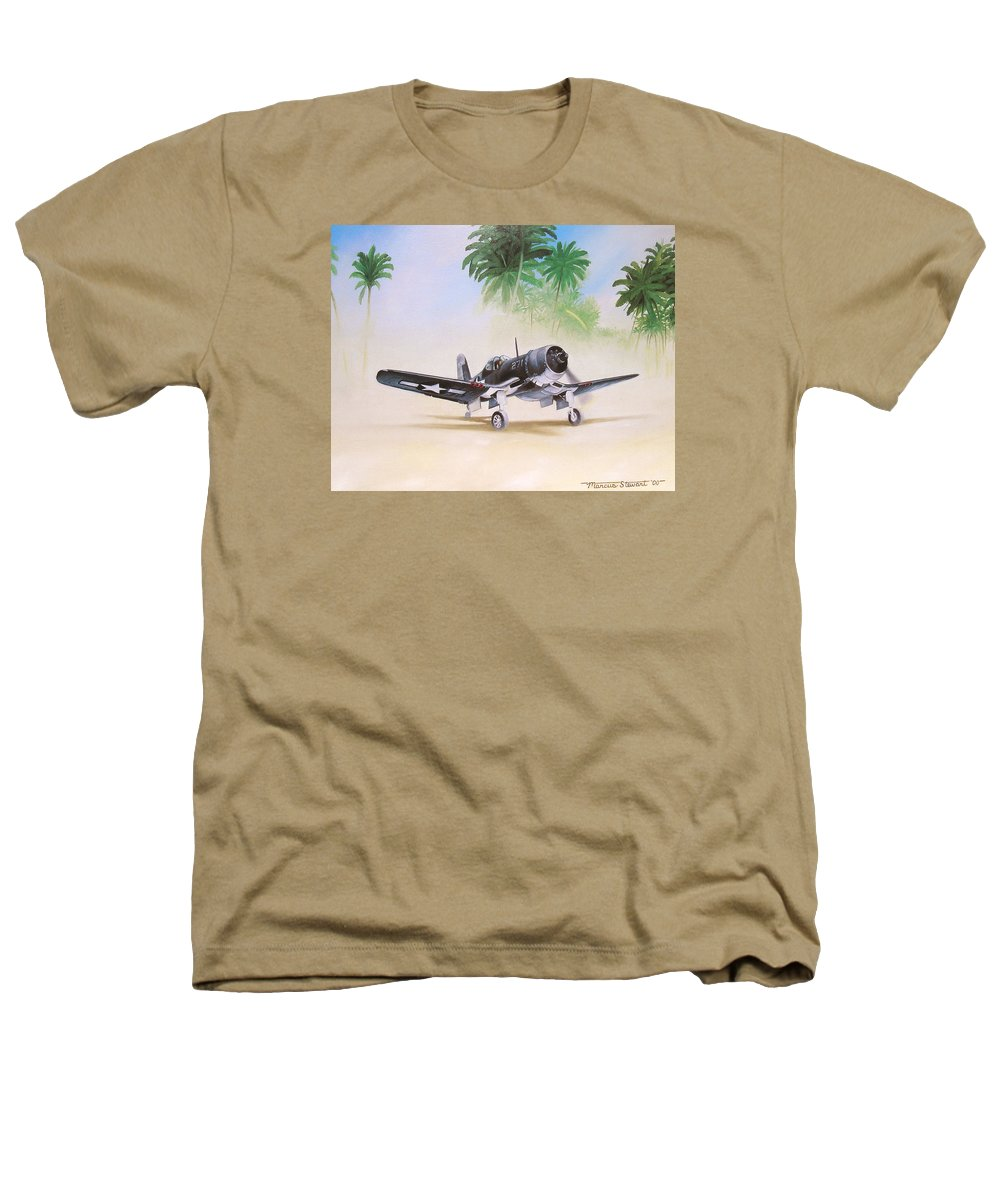 Aviation Heathers T-Shirt featuring the painting Corsair Preflight by Marc Stewart