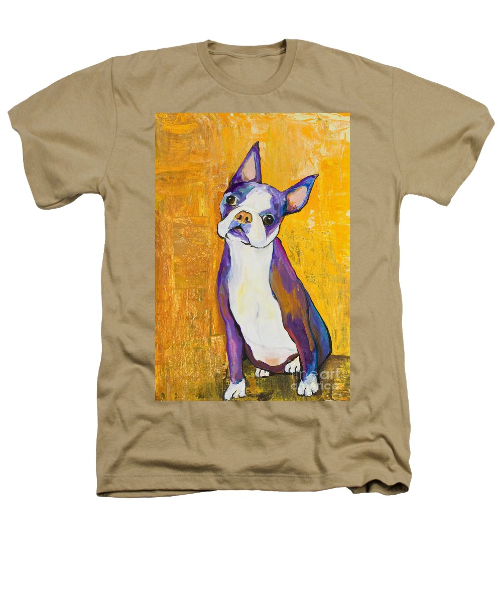 Boston Terrier Animals Acrylic Dog Portraits Pet Portraits Animal Portraits Pat Saunders-white Heathers T-Shirt featuring the painting Cosmo by Pat Saunders-White