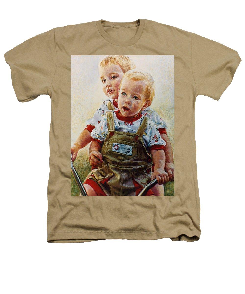 Pastel Portrait Heathers T-Shirt featuring the pastel Cousins by Jean Hildebrant