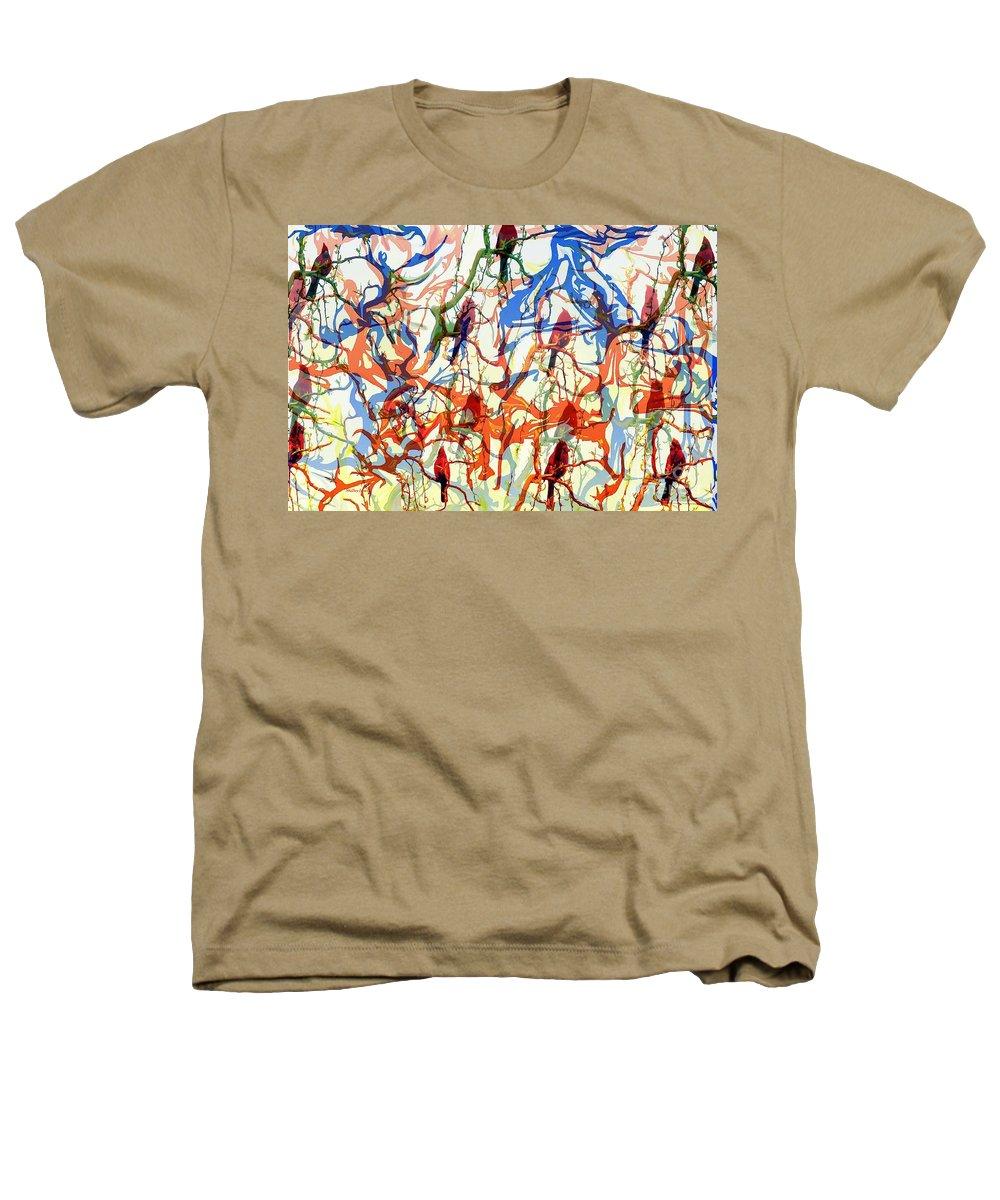 Birds Heathers T-Shirt featuring the digital art Crazy Cardinals by Shelley Jones