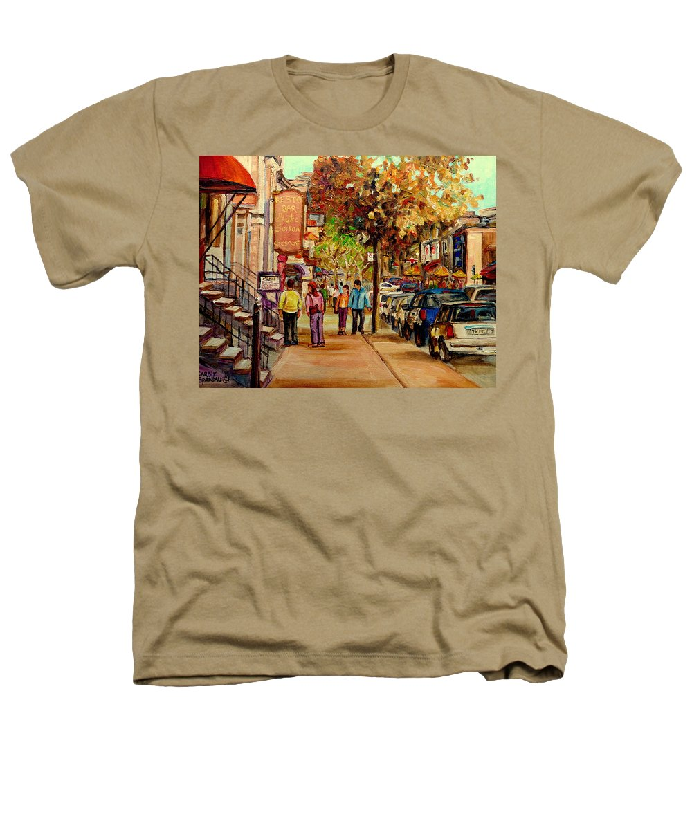 Montreal Streetscenes Heathers T-Shirt featuring the painting Crescent Street Montreal by Carole Spandau
