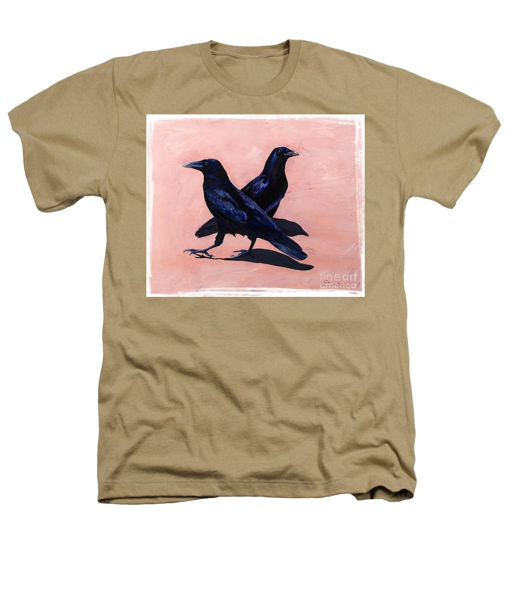 Crows Heathers T-Shirt featuring the painting Crows by Sandi Baker