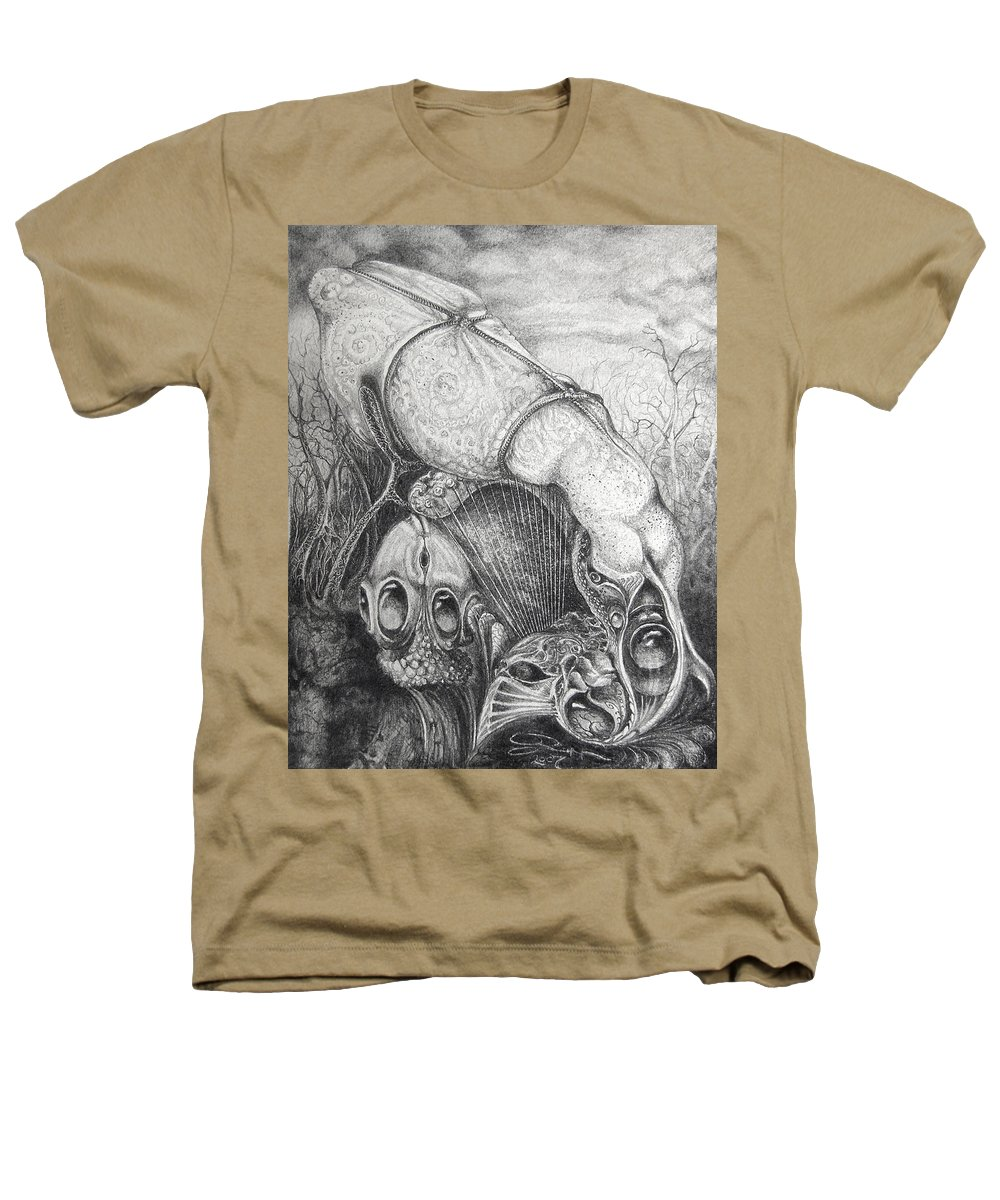 Surrealism Heathers T-Shirt featuring the drawing Ctulhu Seedpods by Otto Rapp