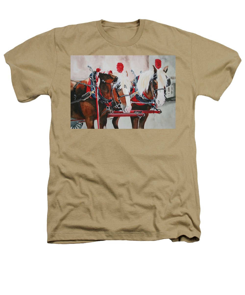 Horse Heathers T-Shirt featuring the painting Dandy Duo by Jean Blackmer
