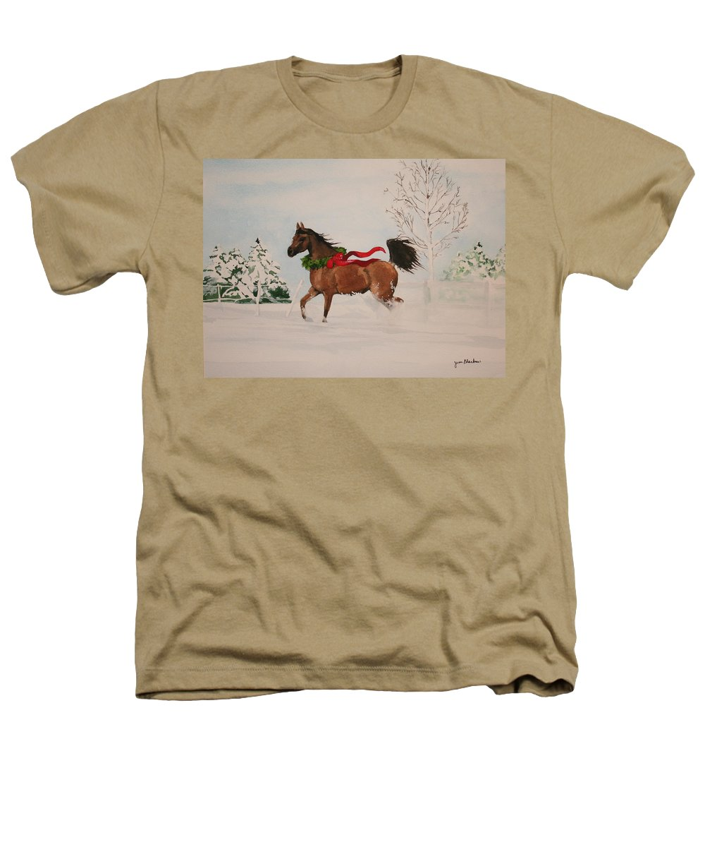 Horse Heathers T-Shirt featuring the painting Dashing Thru The Snow by Jean Blackmer