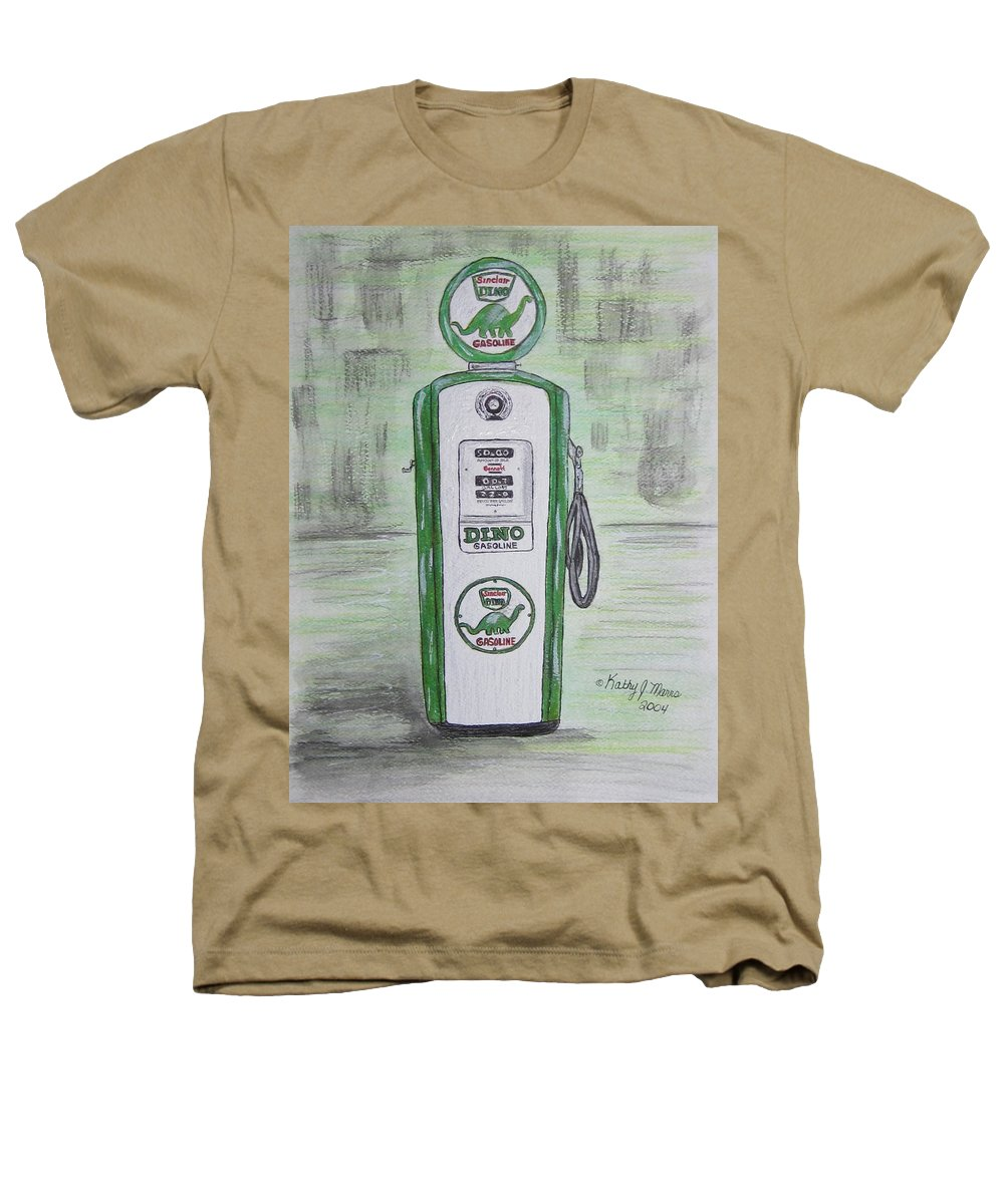 Dino Heathers T-Shirt featuring the painting Dino Sinclair Gas Pump by Kathy Marrs Chandler