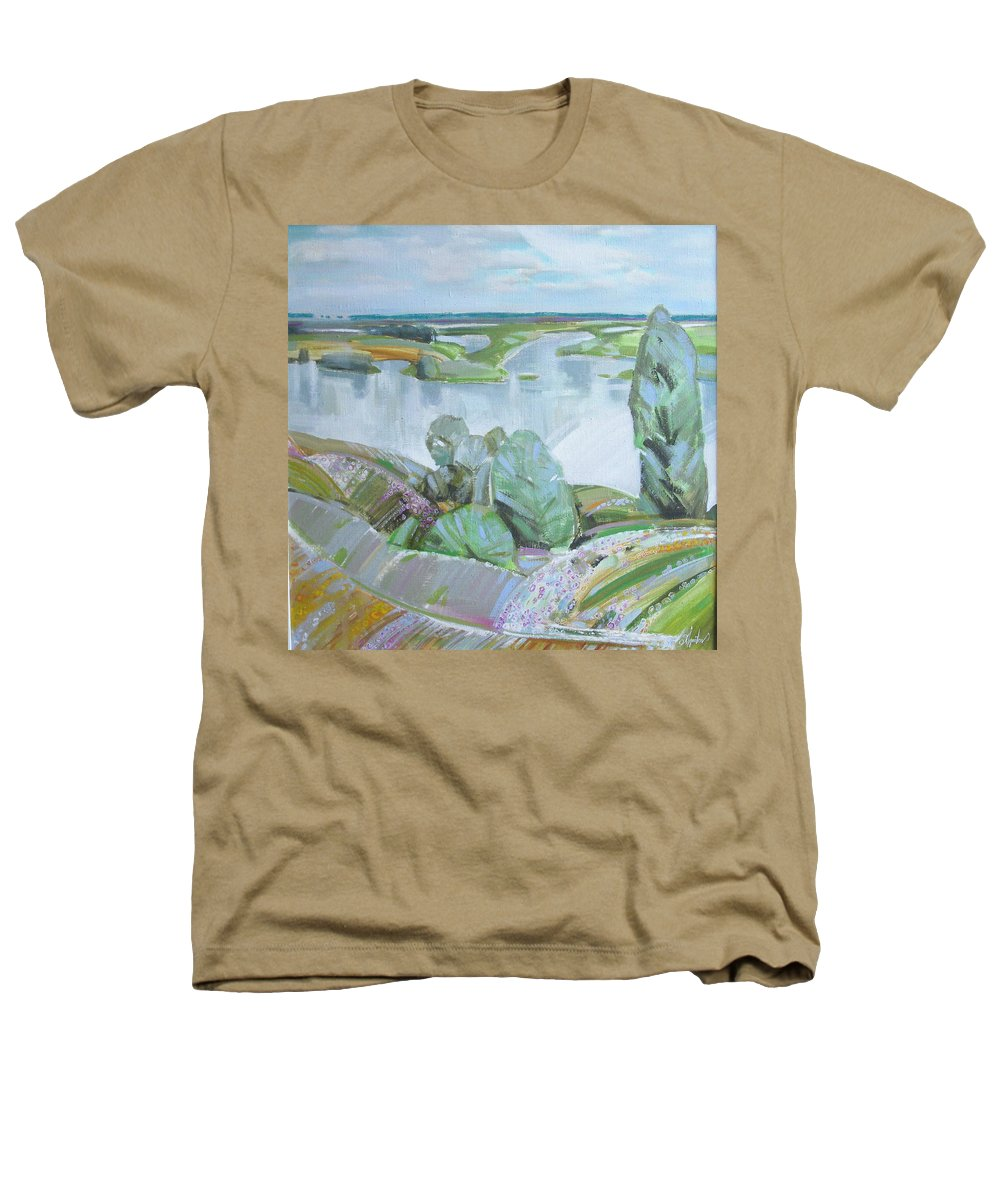Landscape Heathers T-Shirt featuring the painting Dnepro River by Sergey Ignatenko