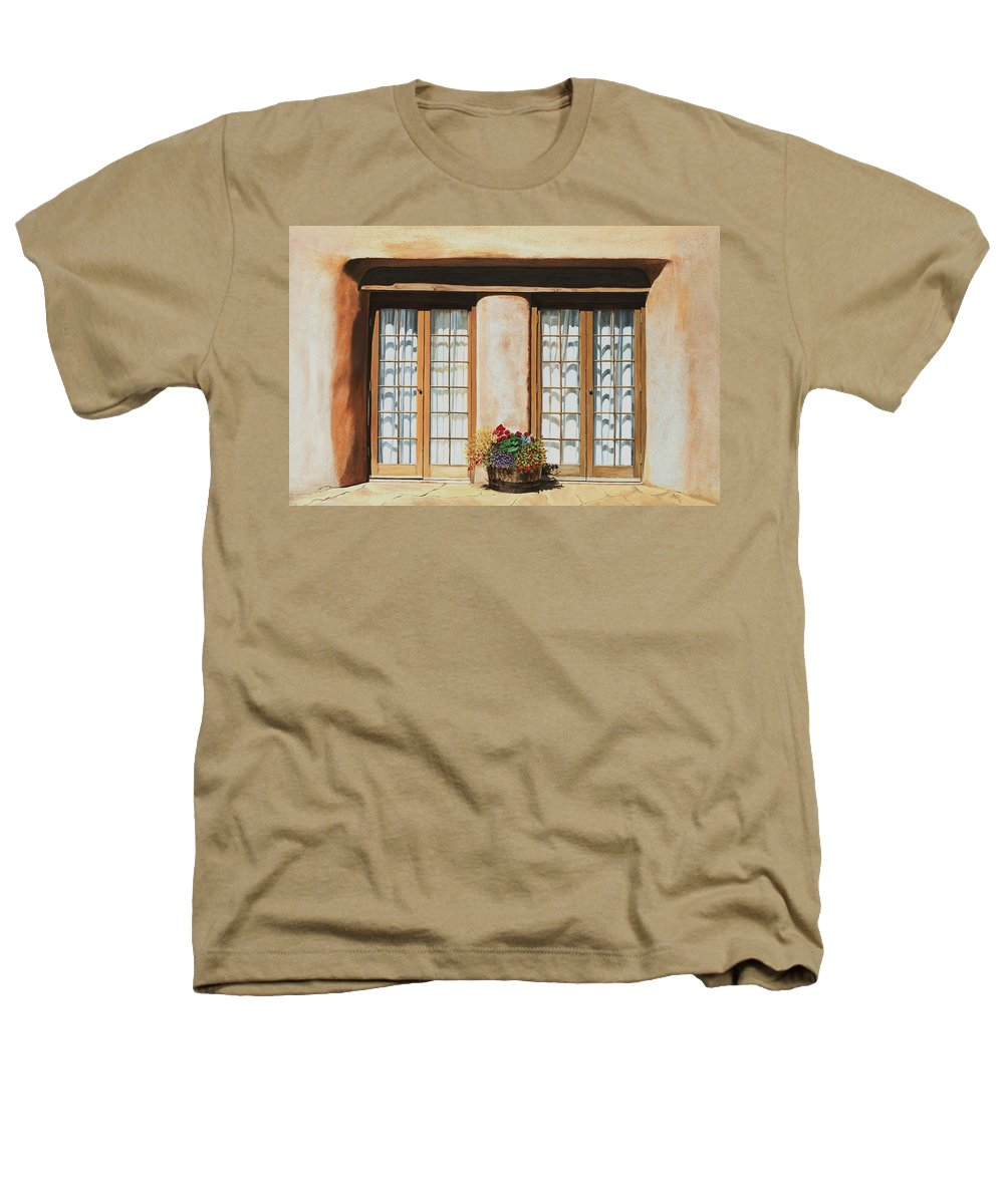Usa Heathers T-Shirt featuring the painting Doors Of Santa Fe by Mary Rogers