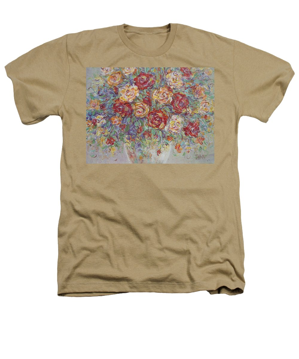 Flowers Heathers T-Shirt featuring the painting Double Delight. by Natalie Holland