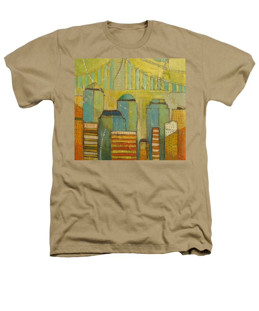 Heathers T-Shirt featuring the painting Downtown Manhattan by Habib Ayat