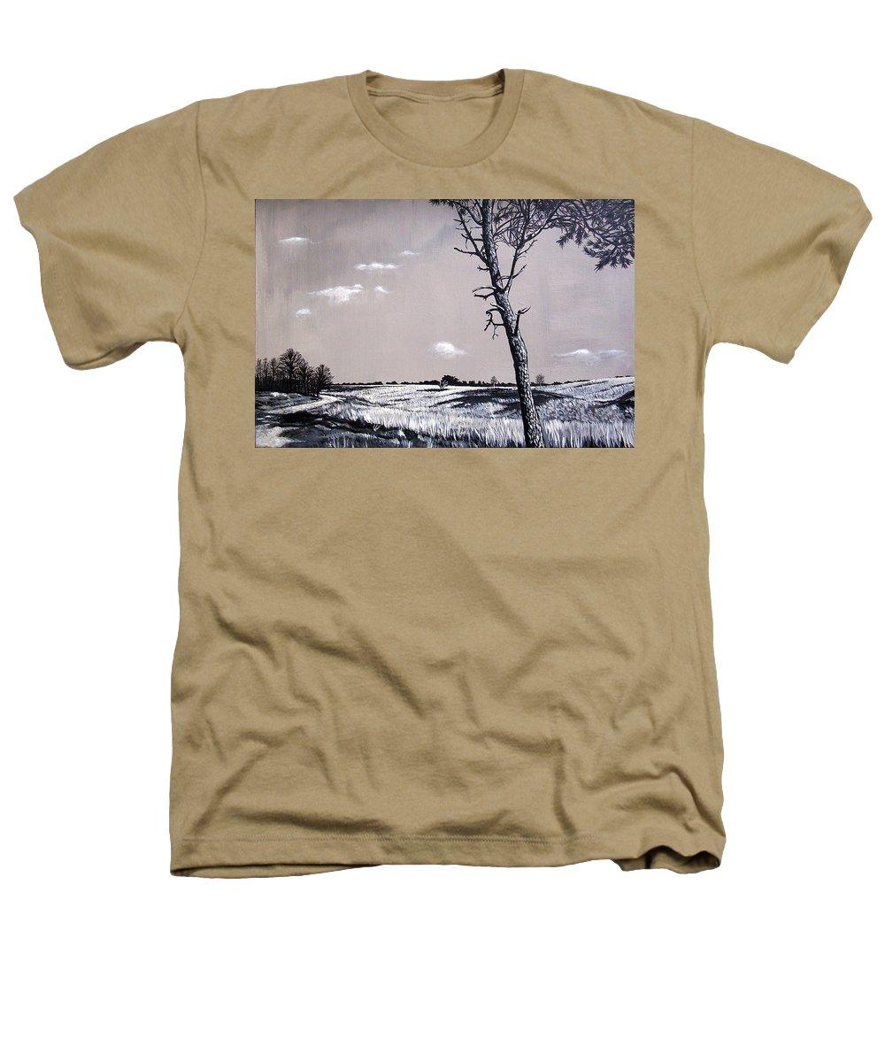 Duotone Heathers T-Shirt featuring the painting Dutch Heathland by Arie Van der Wijst