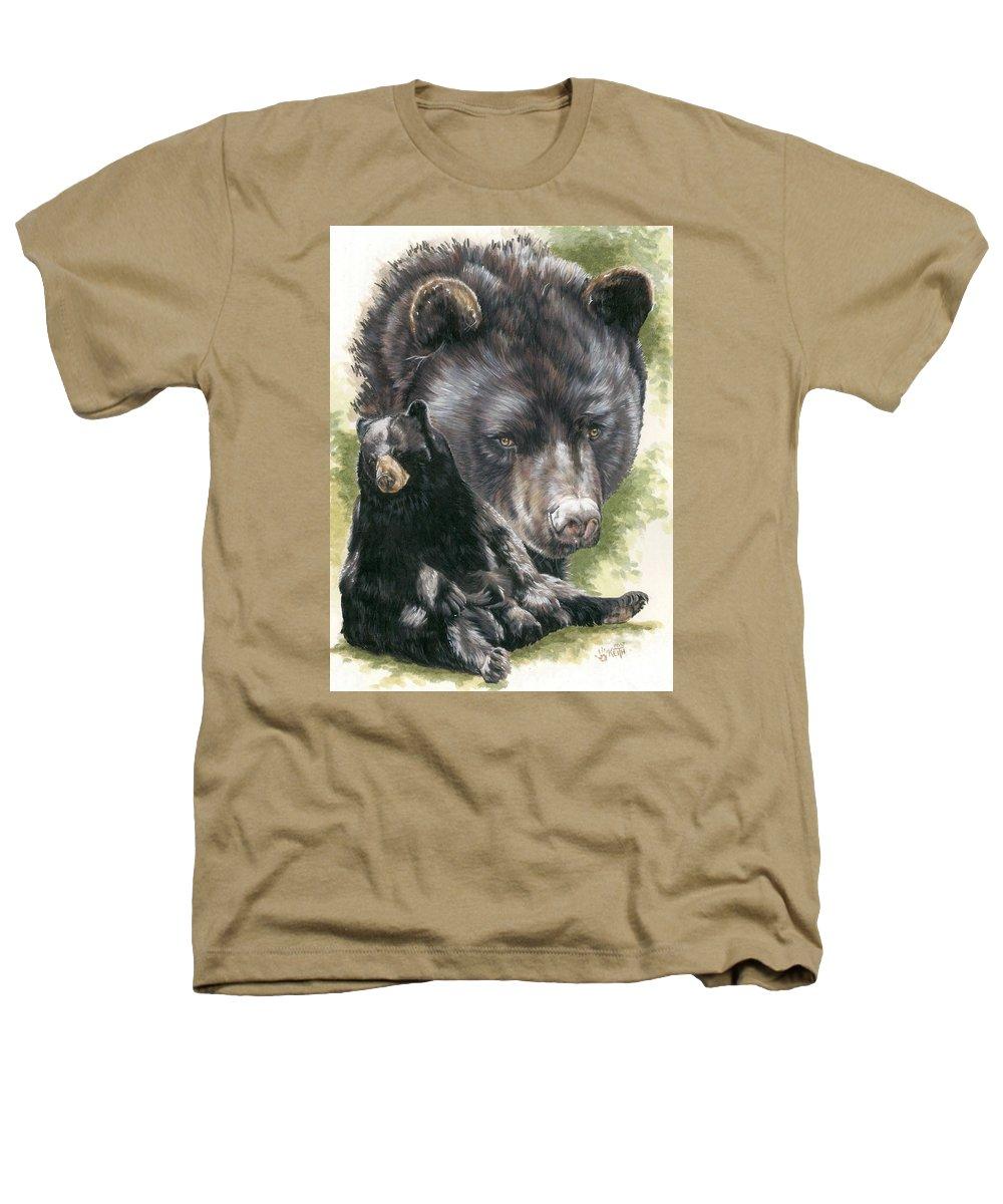 Black Bear Heathers T-Shirt featuring the mixed media Ebony by Barbara Keith