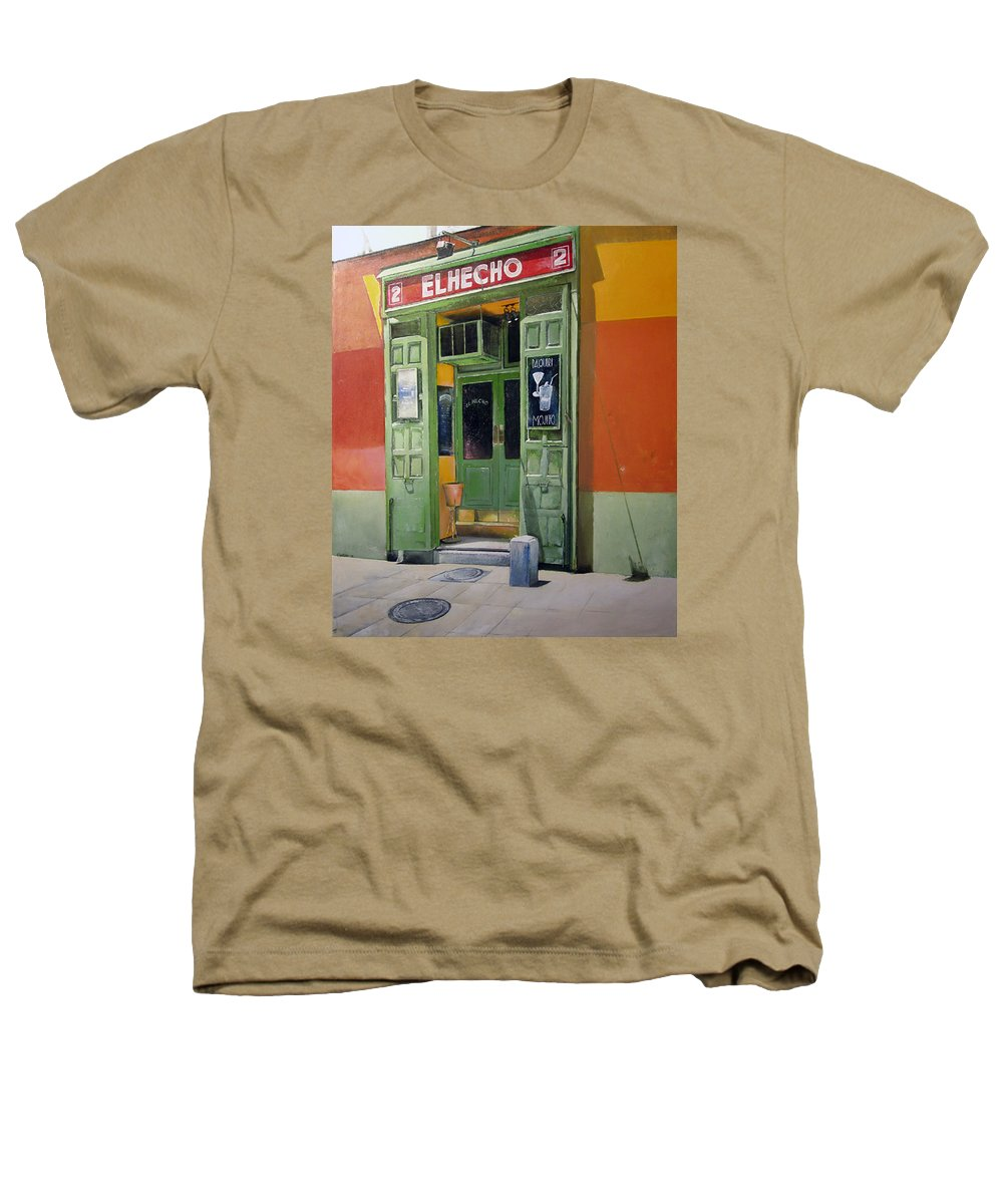 Hecho Heathers T-Shirt featuring the painting El Hecho Pub by Tomas Castano