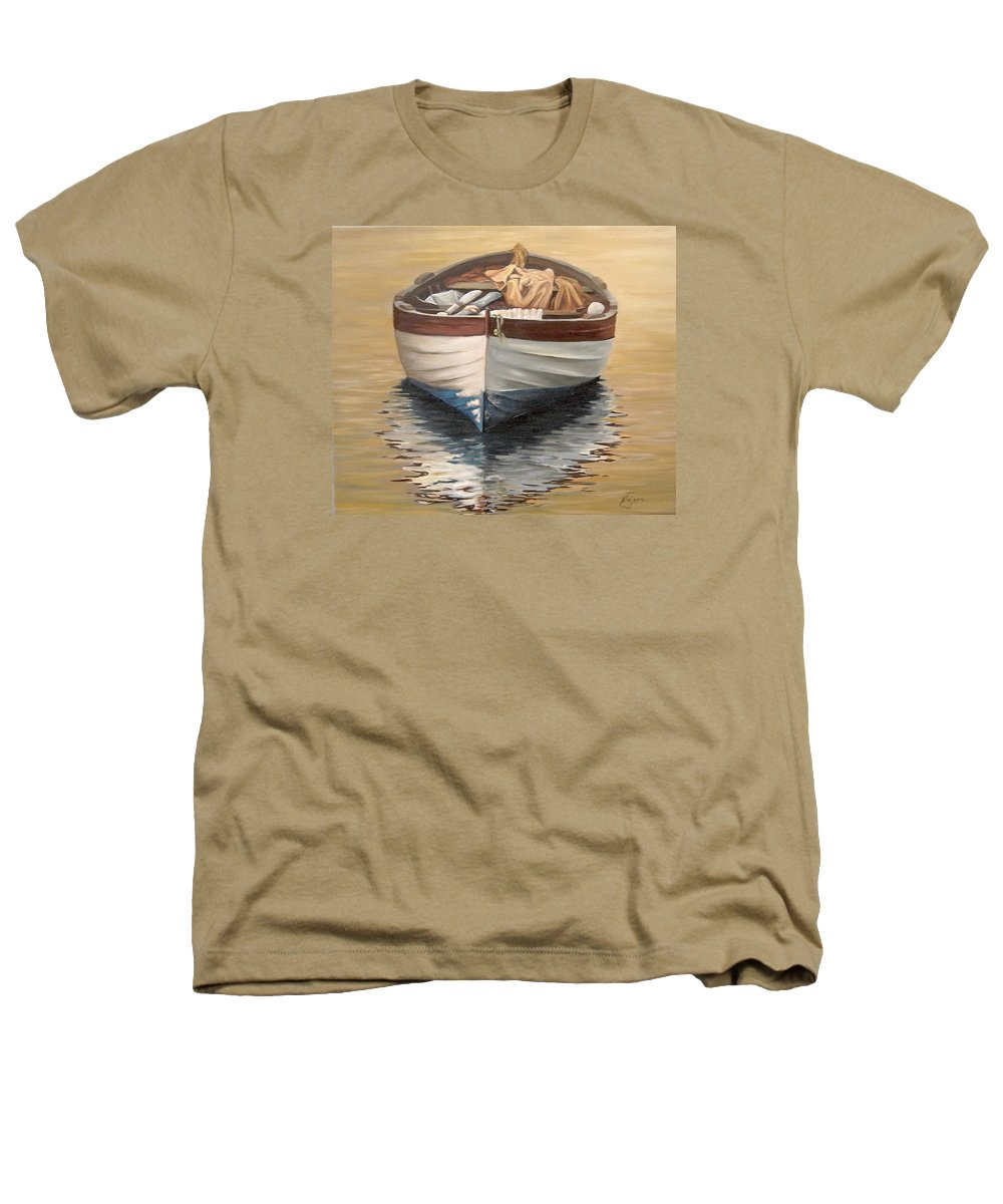 Boats Reflection Seascape Water Heathers T-Shirt featuring the painting Evening Boat by Natalia Tejera