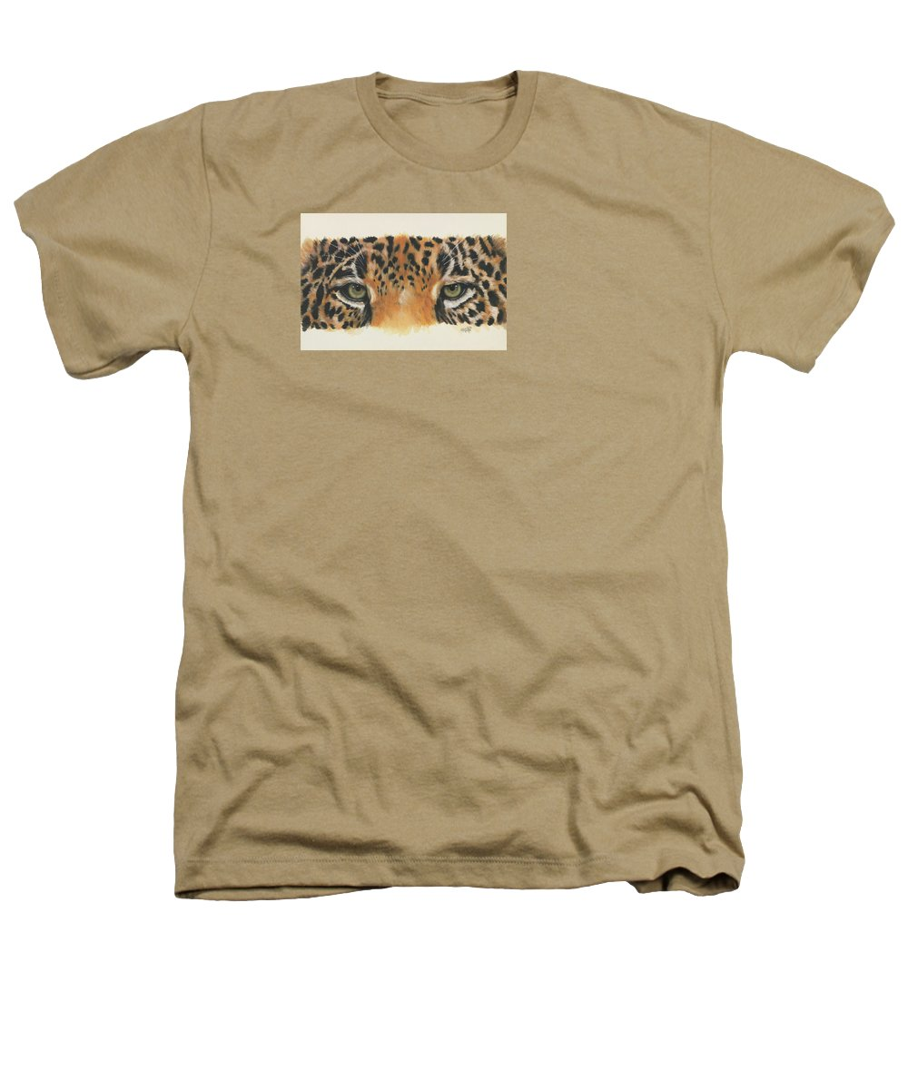 Jaguar Heathers T-Shirt featuring the painting Eye-catching Jaguar by Barbara Keith