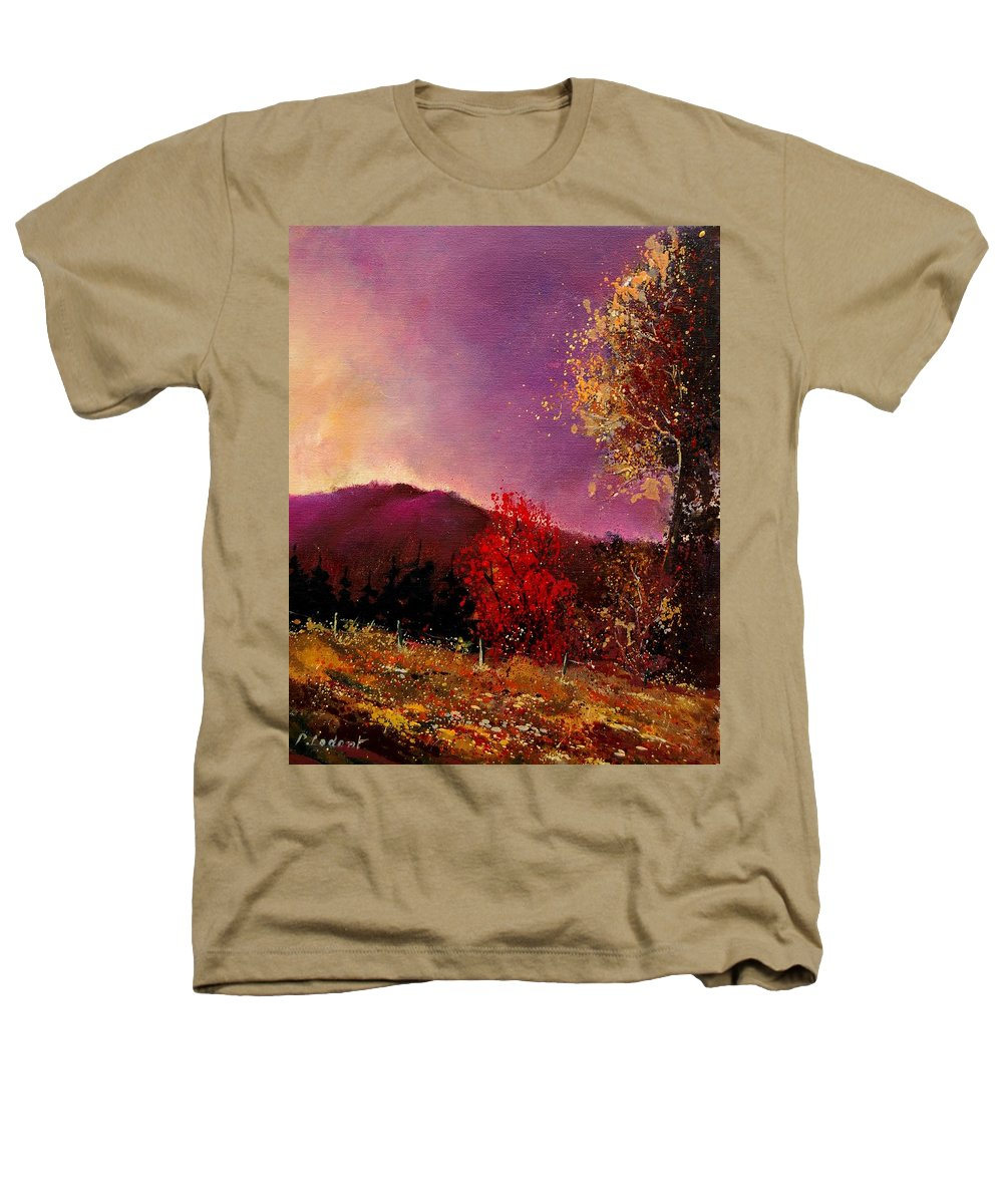 River Heathers T-Shirt featuring the painting Fall Colors by Pol Ledent
