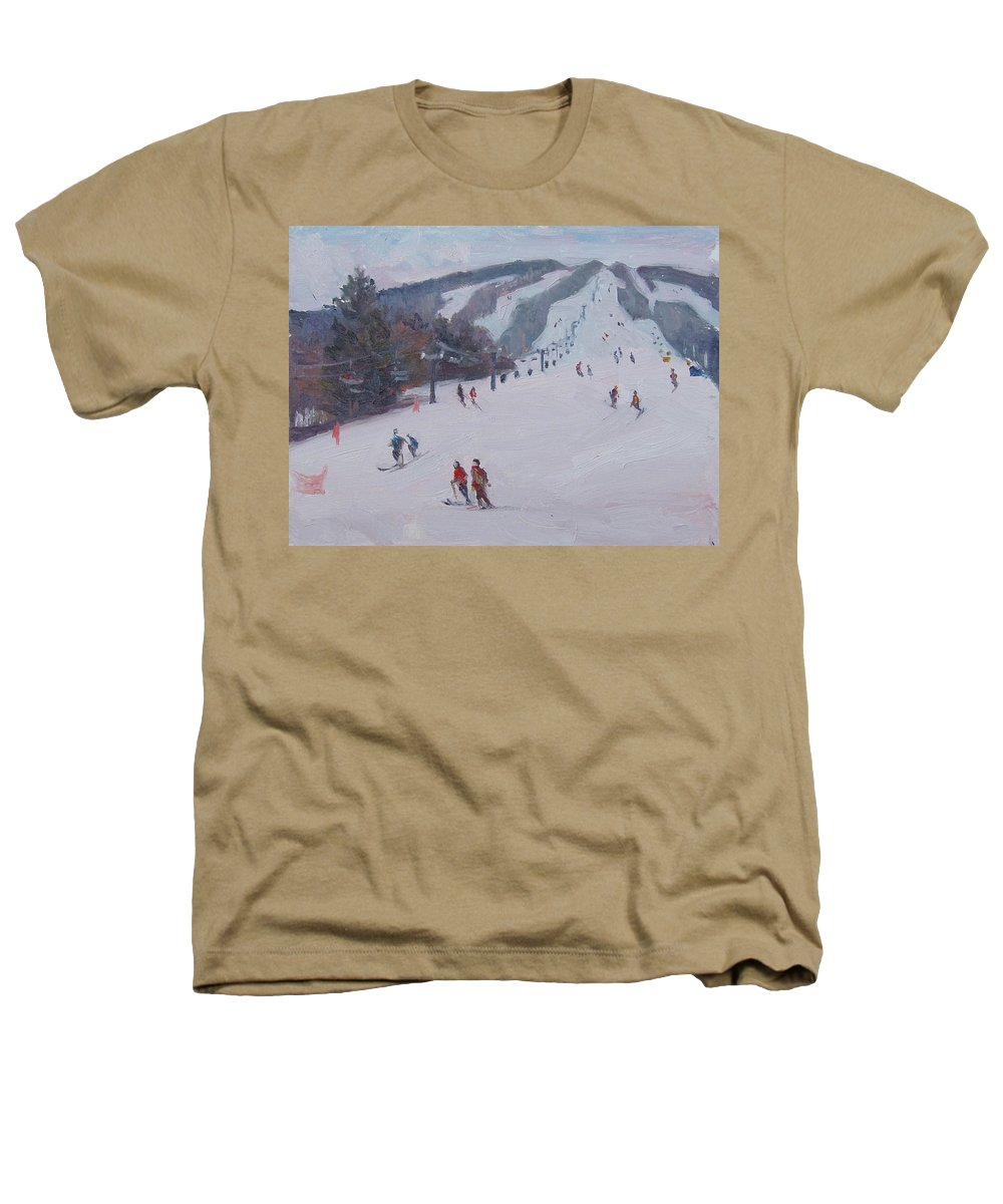 Landscape Heathers T-Shirt featuring the painting Family Ski by Dianne Panarelli Miller