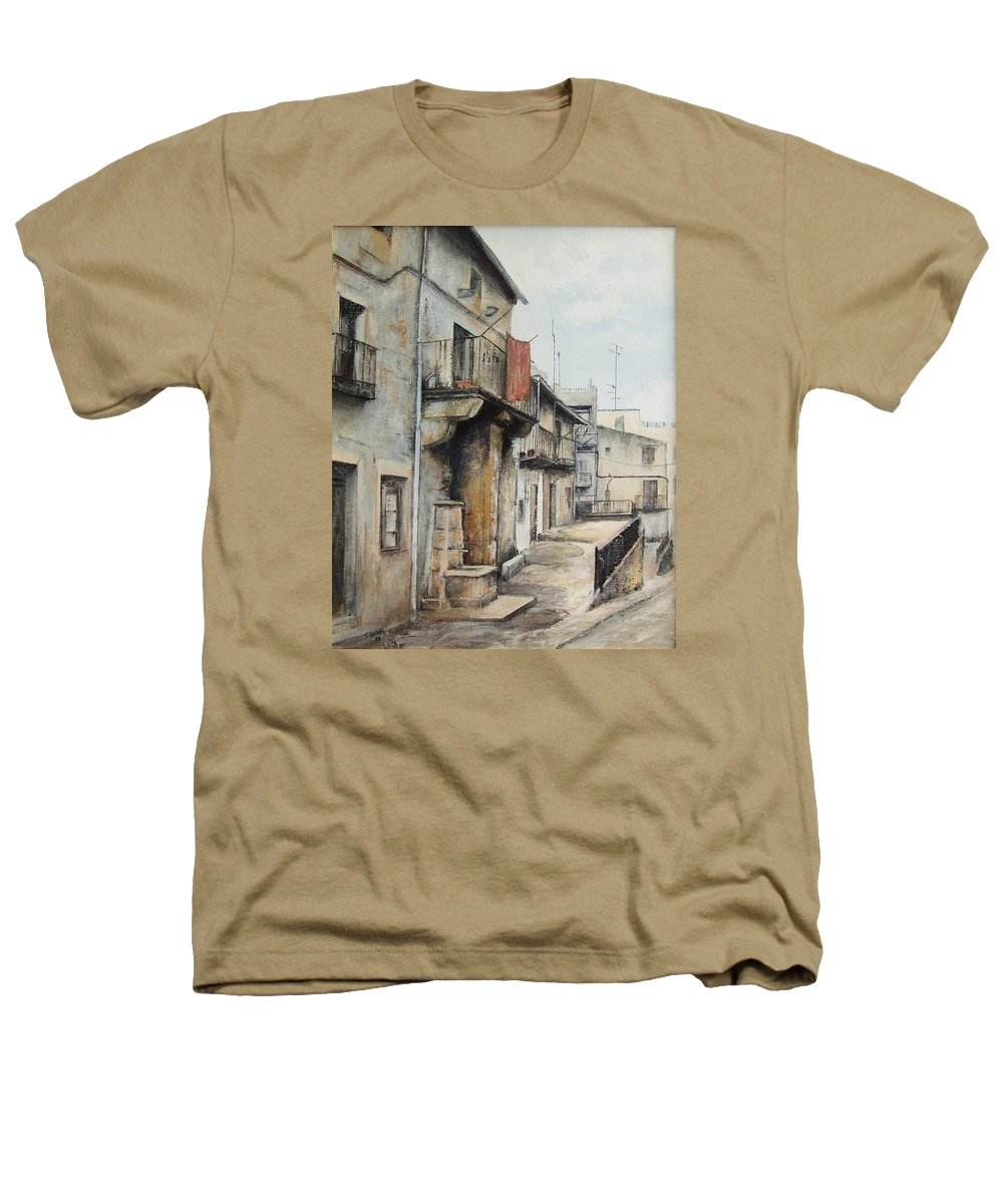 Fermoselle Zamora Spain Oil Painting City Scapes Urban Art Heathers T-Shirt featuring the painting Fermoselle by Tomas Castano