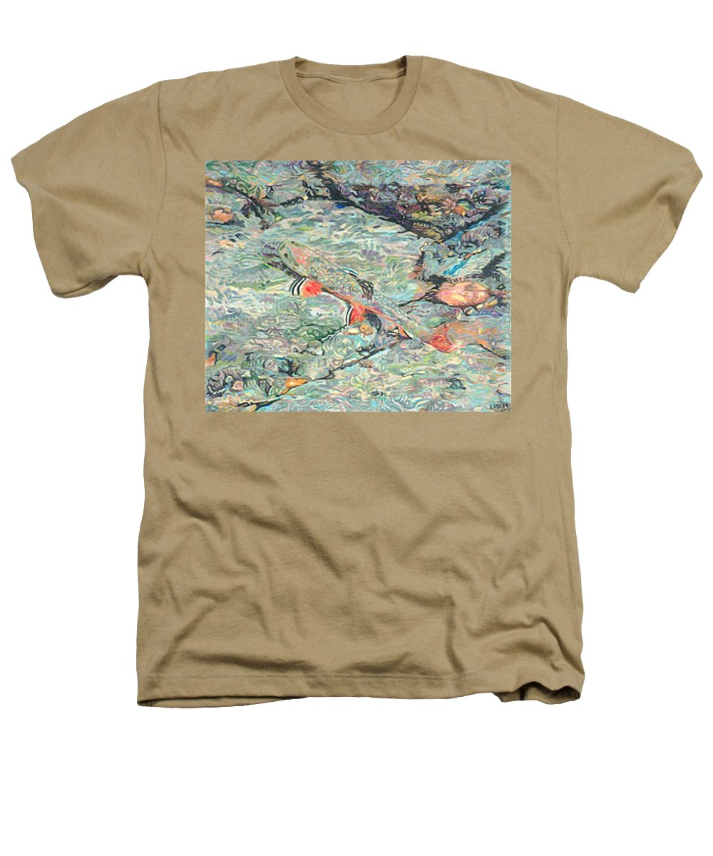 Art Heathers T-Shirt featuring the drawing Fish Art Trout Art Brook Trout Brookie Artwork Nature Underwater Wildlife Creek Art River Art Lake by Baslee Troutman