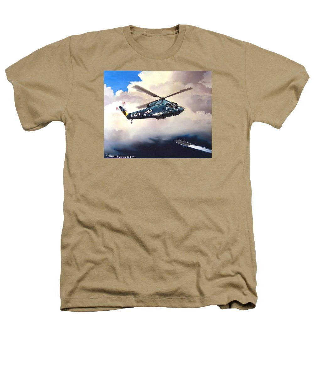 Military Heathers T-Shirt featuring the painting Flight Of The Seasprite by Marc Stewart