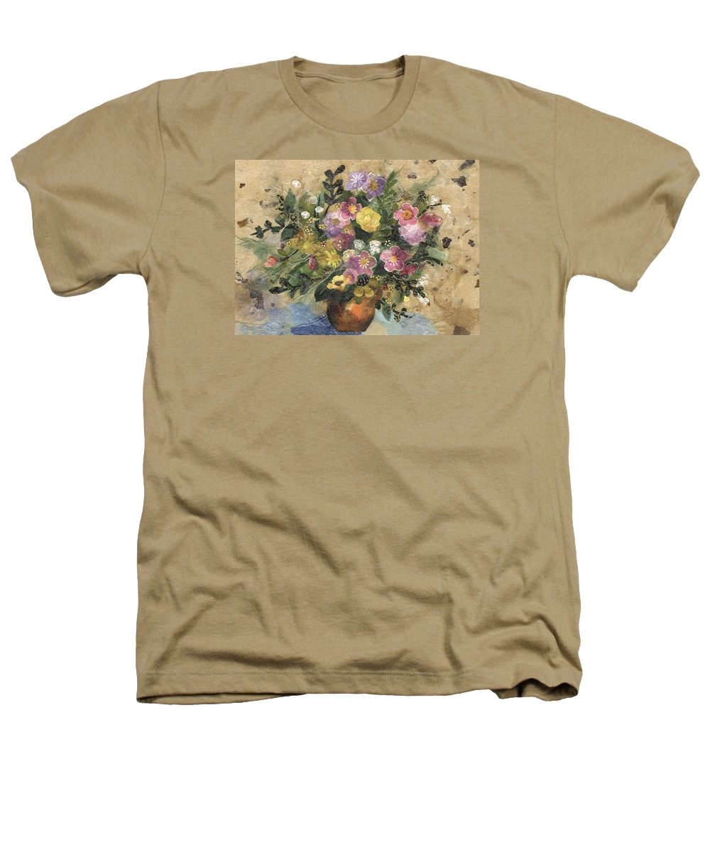 Limited Edition Prints Heathers T-Shirt featuring the painting Flowers In A Clay Vase by Nira Schwartz