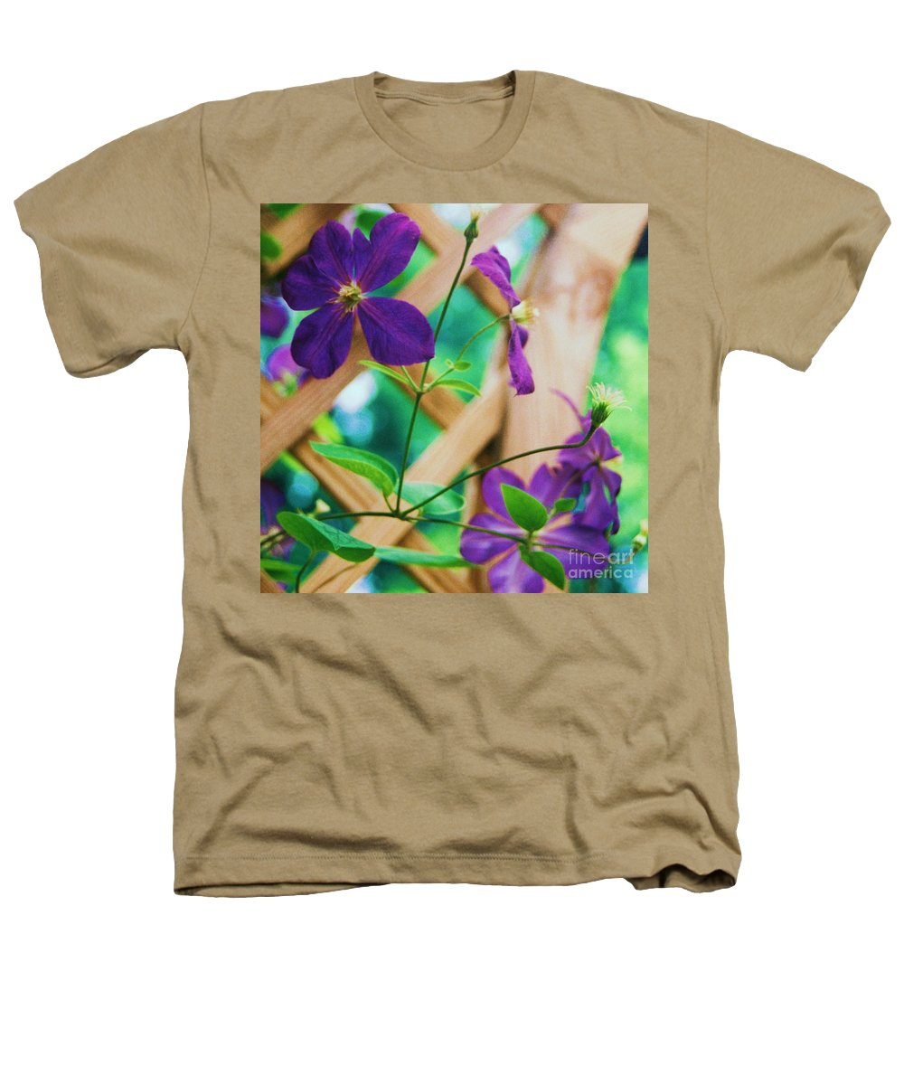 Floral Heathers T-Shirt featuring the painting Flowers Purple by Eric Schiabor