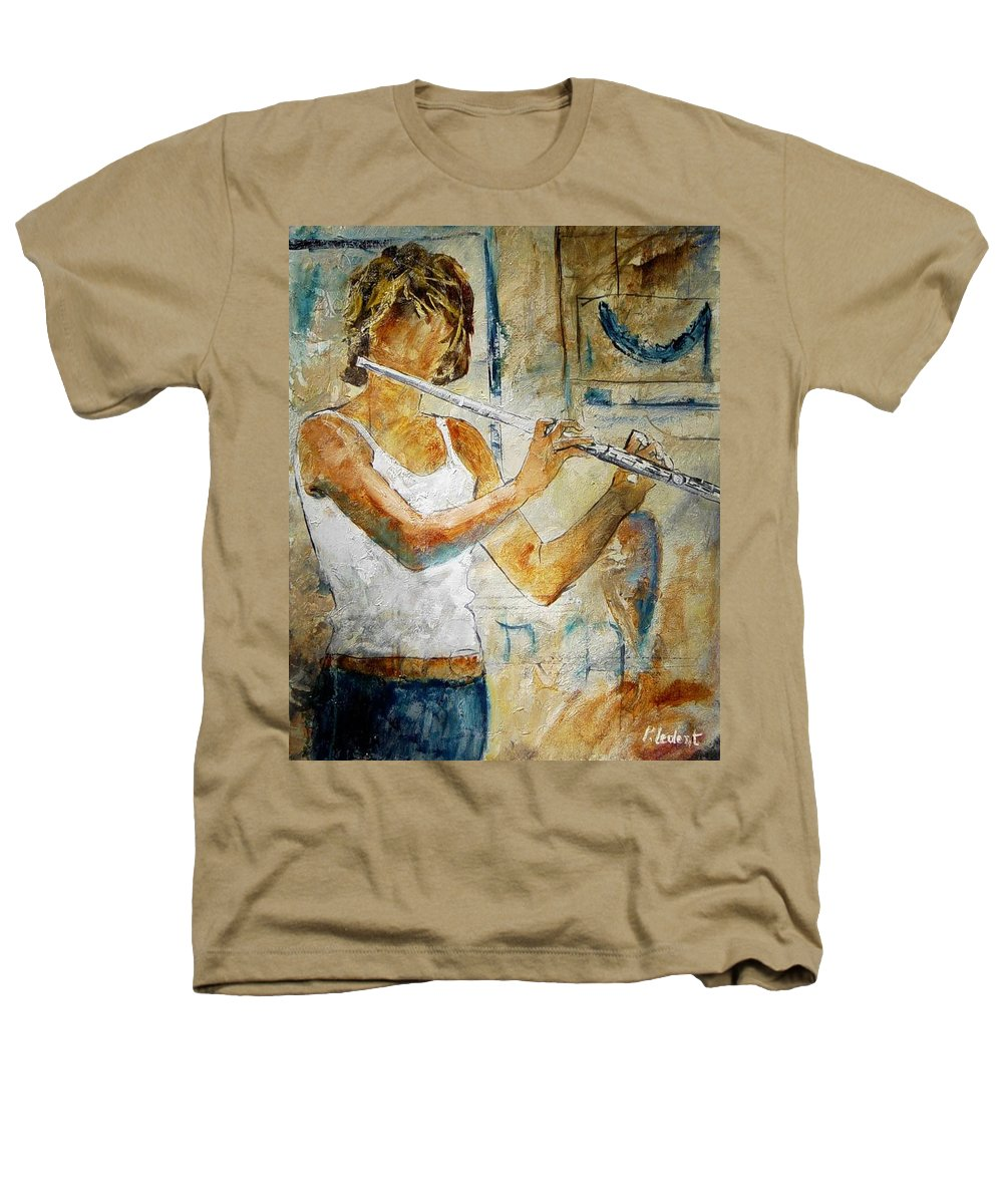Music Heathers T-Shirt featuring the painting Flutist by Pol Ledent