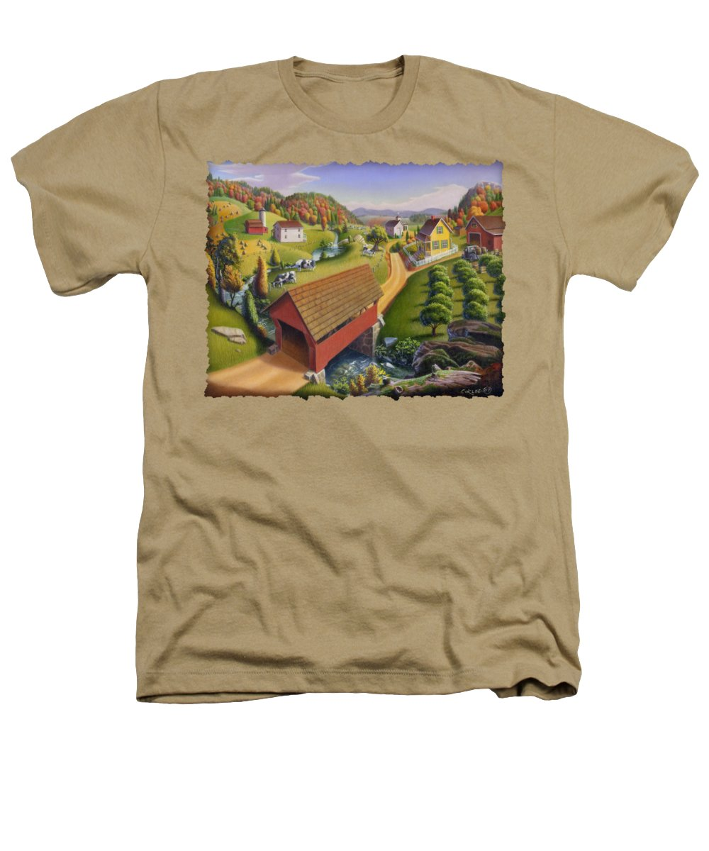 Covered Bridge Heathers T-Shirt featuring the painting Folk Art Covered Bridge Appalachian Country Farm Summer Landscape - Appalachia - Rural Americana by Walt Curlee