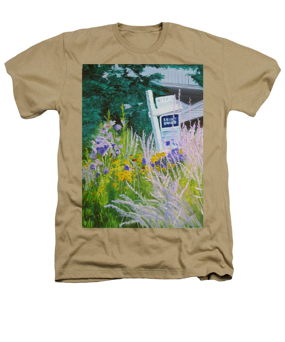 Landscape Heathers T-Shirt featuring the painting For Sale - A Patch Of Paradise by Lea Novak