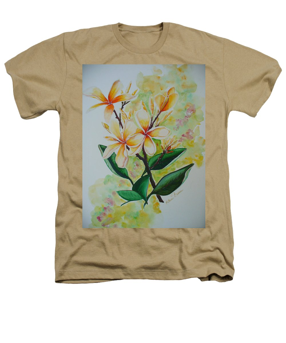 Heathers T-Shirt featuring the painting Frangipangi by Karin Dawn Kelshall- Best