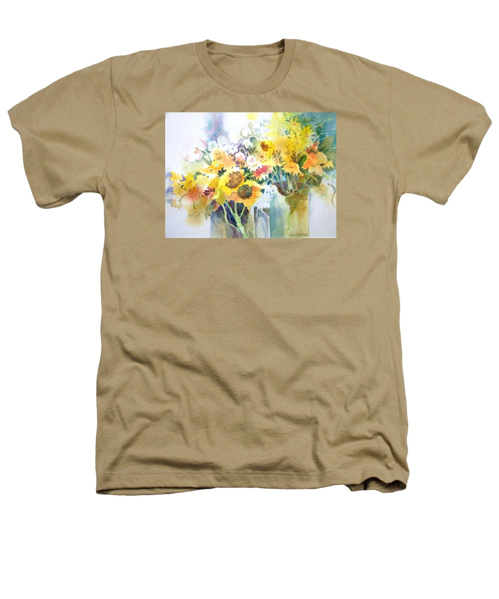 Contemporary;watercolor;sunflowers;daisies;floral; Heathers T-Shirt featuring the painting Fresh-picked by Lois Mountz