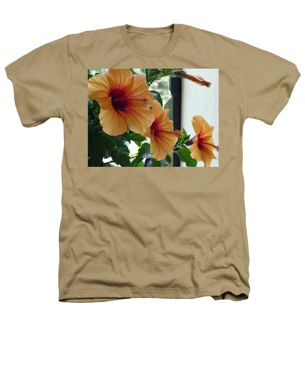 Photography Flower Floral Bloom Hibiscus Peach Heathers T-Shirt featuring the photograph Friends For A Day by Karin Dawn Kelshall- Best
