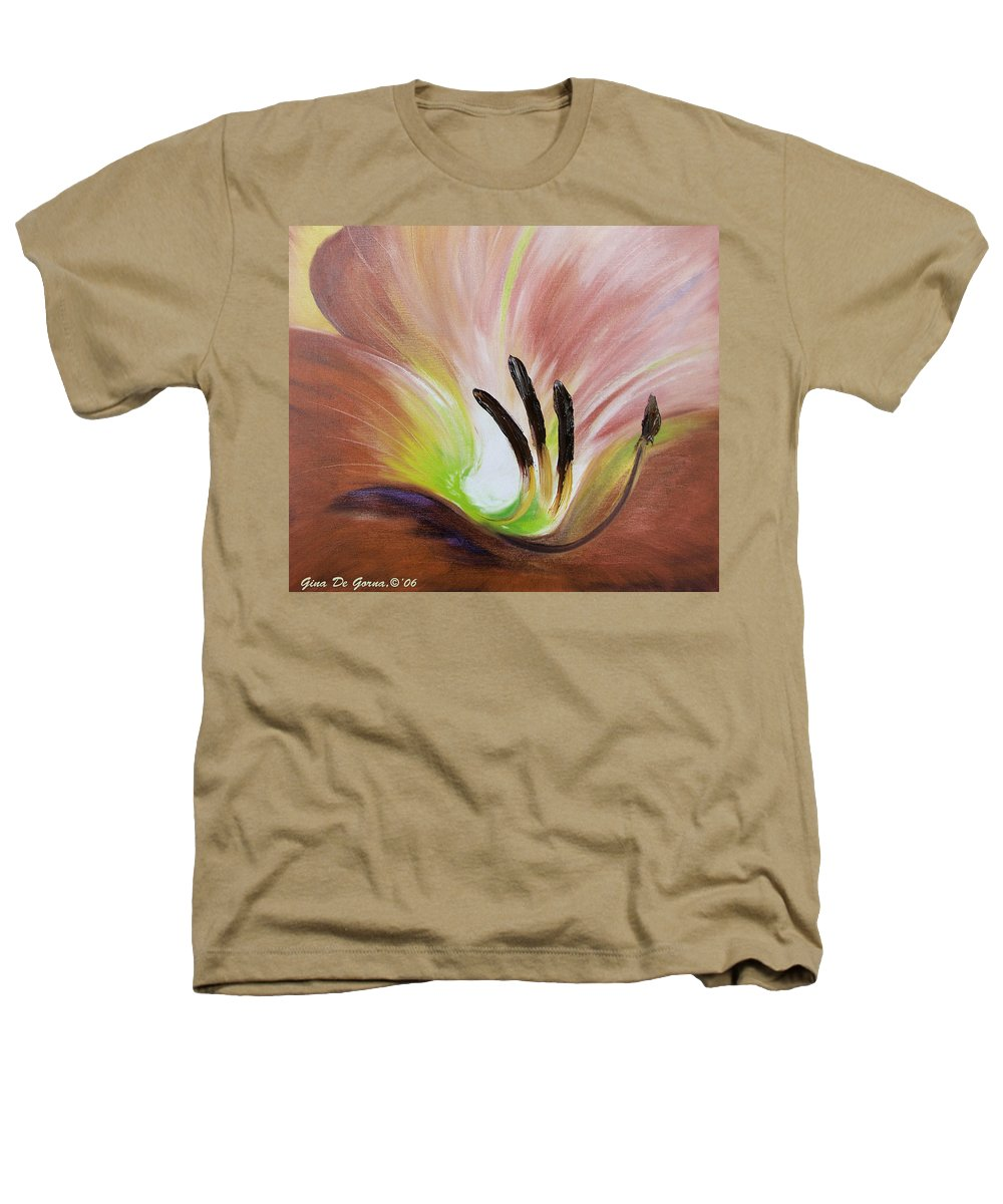 Brown Heathers T-Shirt featuring the painting From The Heart Of A Flower Brown 3 by Gina De Gorna