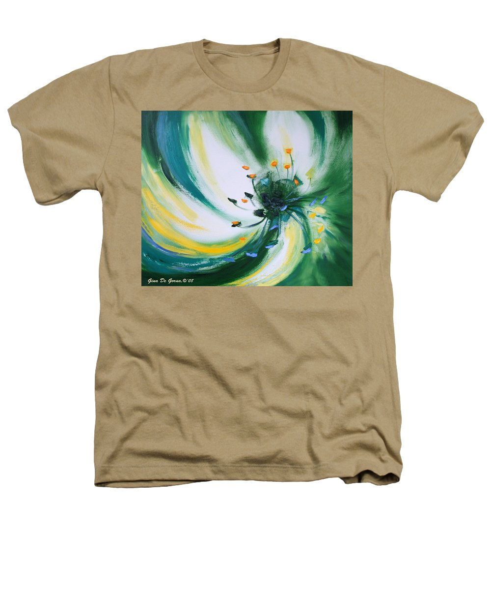 Green Heathers T-Shirt featuring the painting From The Heart Of A Flower Green by Gina De Gorna