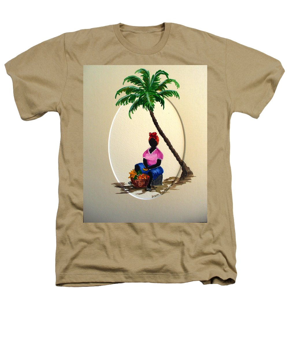 Heathers T-Shirt featuring the painting Fruit Seller by Karin Dawn Kelshall- Best