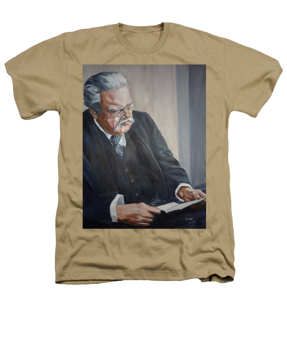 Chesterton Author Catholic Heathers T-Shirt featuring the painting G K Chesterton by Bryan Bustard