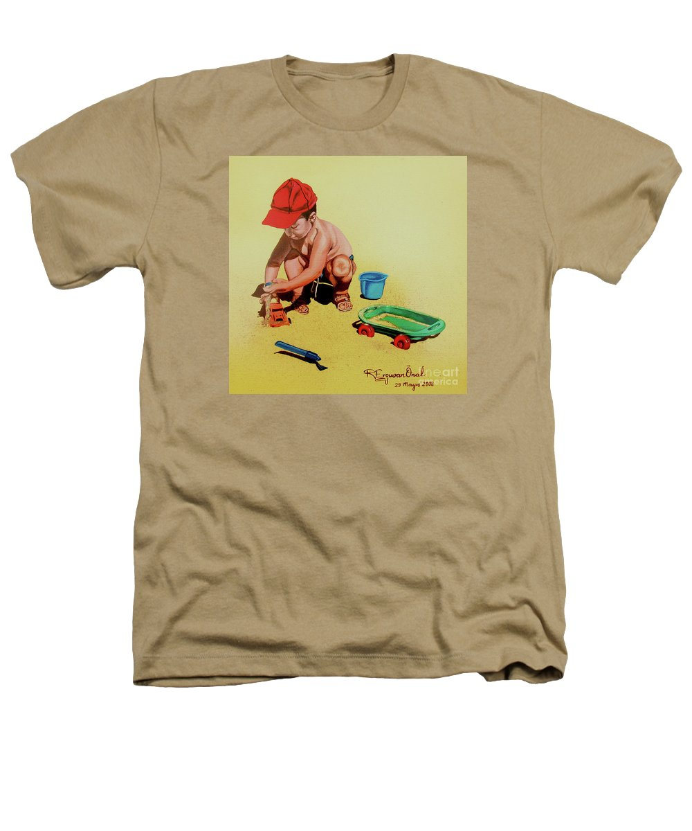 Beach Heathers T-Shirt featuring the painting Game At The Beach - Juego En La Playa by Rezzan Erguvan-Onal