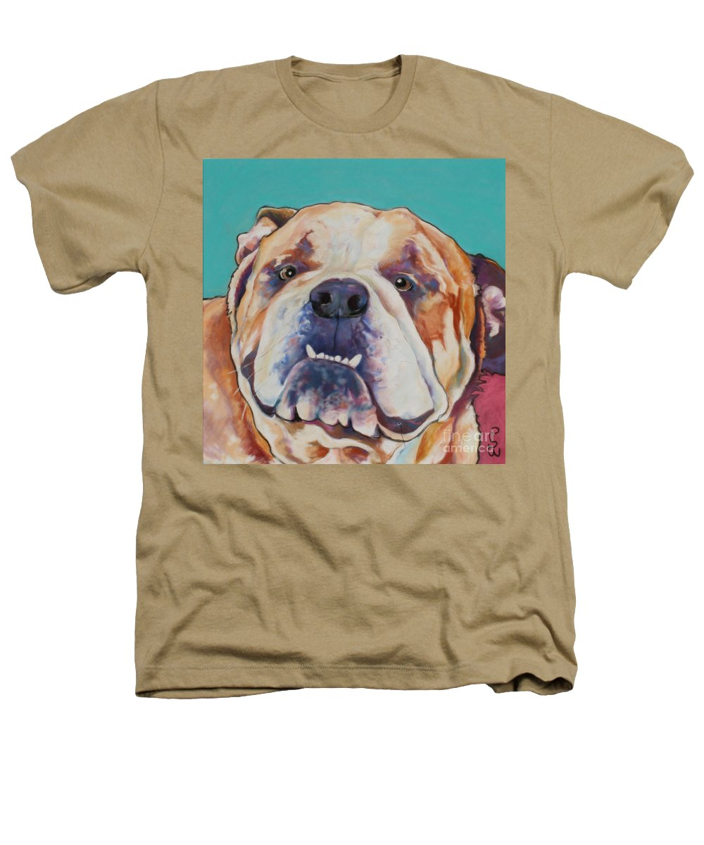 Pat Saunders-white Pet Portraits Heathers T-Shirt featuring the painting Game Face  by Pat Saunders-White