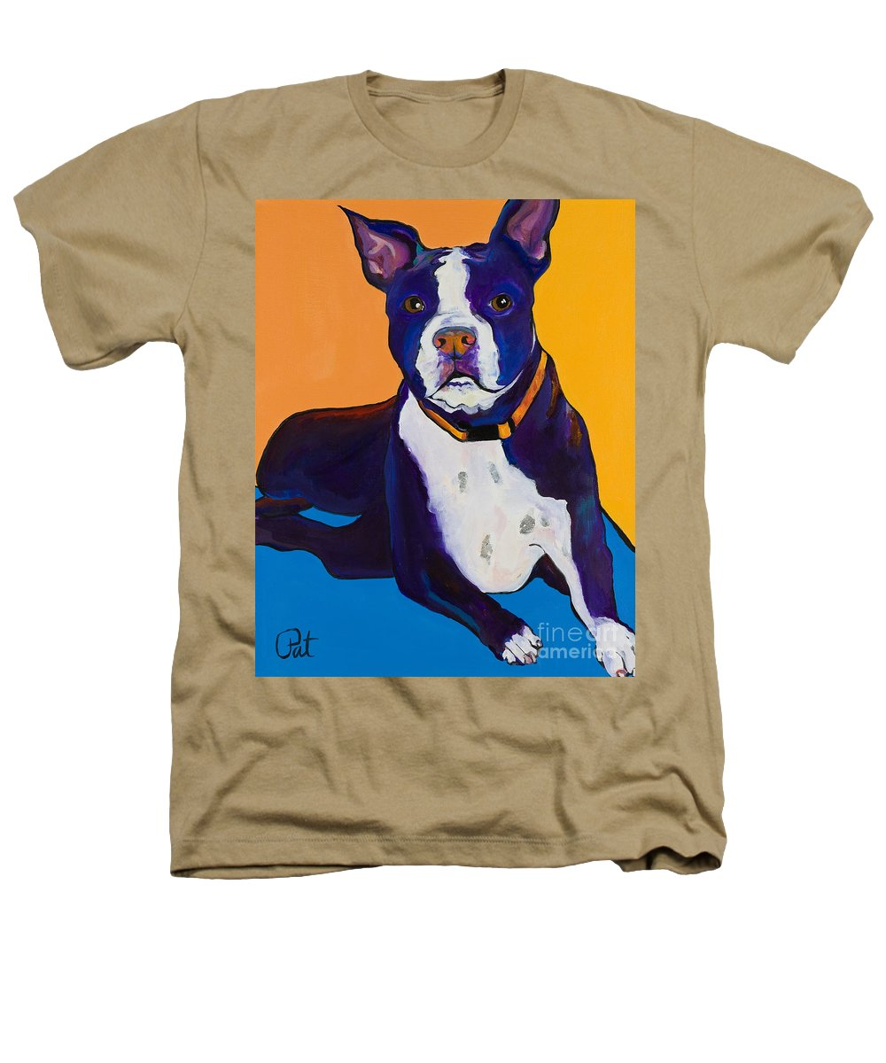 Boston Terrier Heathers T-Shirt featuring the painting Georgie by Pat Saunders-White