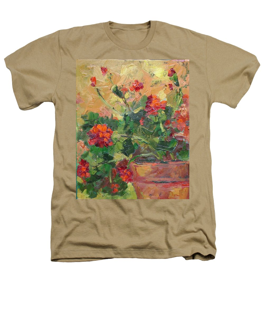 Geraniums Heathers T-Shirt featuring the painting Geraniums II by Ginger Concepcion