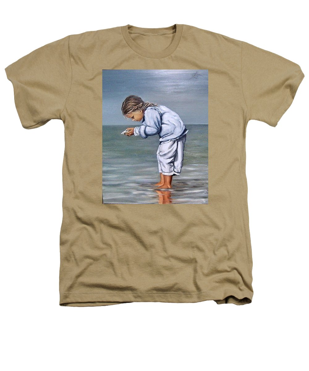 Kid Girl Seascape Sea Children Reflection Water Sea Shell Figurative Heathers T-Shirt featuring the painting Girl With Shell by Natalia Tejera