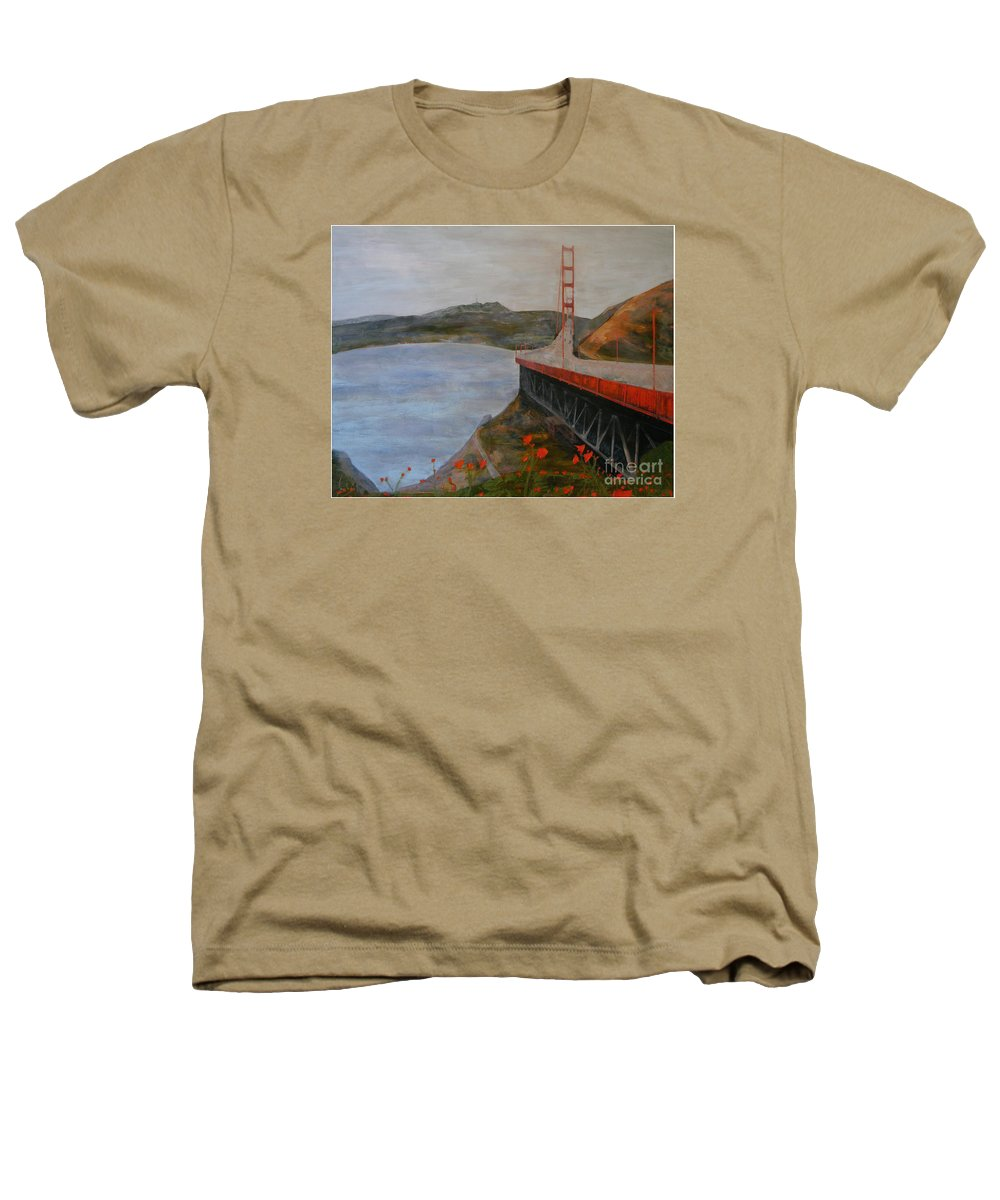 Golden Gate Bridge Heathers T-Shirt featuring the painting Golden Gate Bridge by Ellen Beauregard